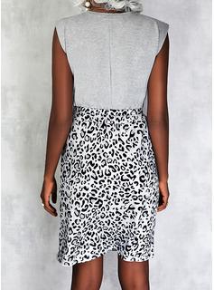 Leopardo Impresión Corazón Cubierta Sin mangas Midi Casual Vestidos de moda