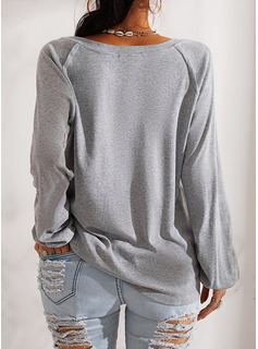 Figur Druck V-Ausschnitt Lange Ärmel Lässige Kleidung T-shirt