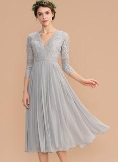 A-Line V-neck Tea-Length Chiffon Lace Cocktail Dress With Pleated