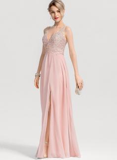 A-Line/Princess V-neck Floor-Length Chiffon Prom Dresses With Beading Split Front