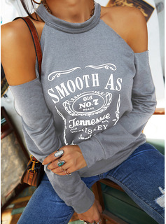 Figure Print Cold Shoulder Long Sleeves Casual Sexy Blouses