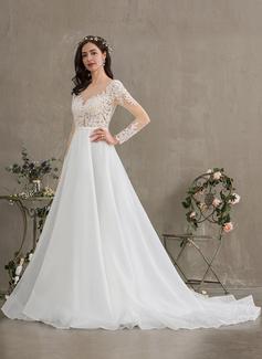 Ball-Gown/Princess Illusion Court Train Organza Wedding Dress