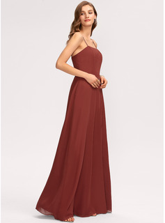 A-Line Square Neckline Floor-Length Chiffon Evening Dress With Split Front