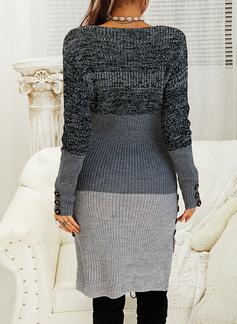 Color Block Långa ärmar Fritids Lång Tät Tröja klänning Modeklänningar