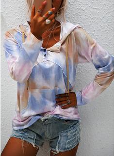 Tie Dye Hoodie Lange ærmer Button-up Casual Skjorter