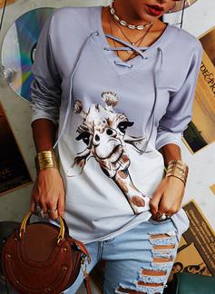 Animalske Udskriv Tie Dye V-hals Lange ærmer Sweatshirts