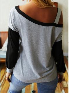 Color Block pailletter One-Shoulder Lange ærmer Casual Skjorter