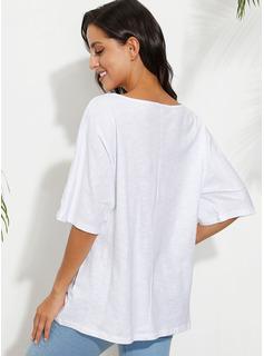 Stampa Una spalla 1/2 maniche Casuale Reggiseno Tshirt