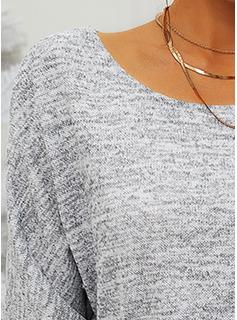 ラウンドネック カジュアル 固体 ポケット セーター