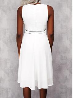 Impresión raya Vestido línea A Sin mangas Midi Elegante Patinador Vestidos de moda