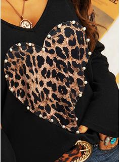 Perlebrodering Leopard Kolde skulder Lange ærmer Casual Skjorter
