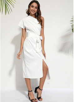 Medium One-Shoulder Polyester Solid Korte ærmer Mode kjoler