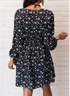 Impresión Vestido línea A Manga Larga Mini Casual Patinador Bolero Vestidos de moda