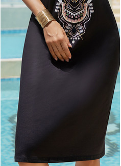 Print Shift Cold Shoulder Sleeve Short Sleeves Mini Boho Casual Vacation Dresses