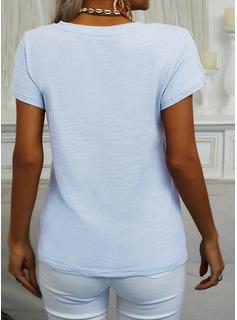 Solido Scollatura a V Maniche corte Basico Casuale Reggiseno Tshirt