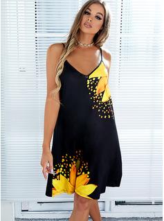 Floral Impresión Vestidos sueltos Sin mangas Mini Casual Vacaciones Tipo Vestidos de moda