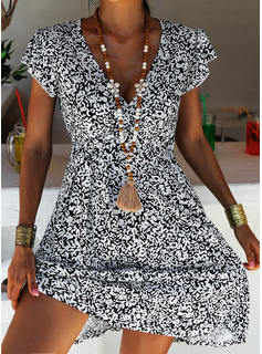 Floral Print A-line Short Sleeves Midi Casual Vacation Skater Dresses