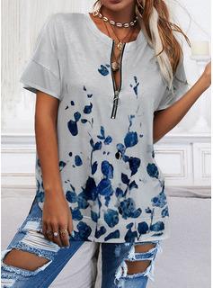 Print V-Neck Short Sleeves Casual