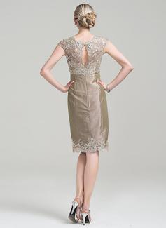 Sheath/Column Scoop Neck Knee-Length Taffeta Mother of the Bride Dress