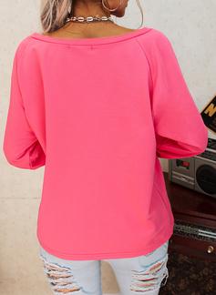 Figur Druck Eine-Schulter Lange Ärmel Lässige Kleidung T-shirt
