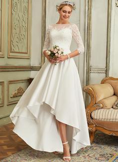 A-Line Scoop Neck Asymmetrical Satin Lace Wedding Dress