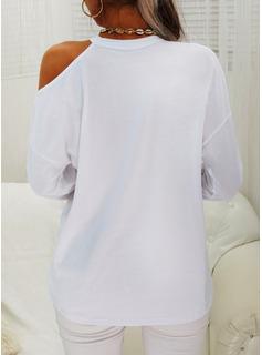 Print Hjerte One-Shoulder Lange ærmer Casual Skjorter