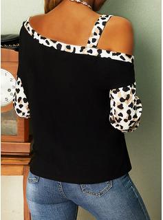Leopard Print One-Shoulder Långa ärmar Fritids