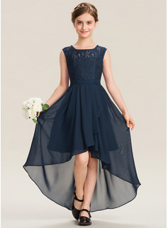A-Line Scoop Neck Asymmetrical Chiffon Lace Junior Bridesmaid Dress With Bow(s) Cascading Ruffles