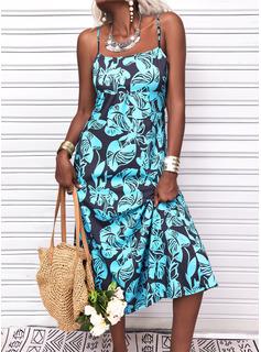 Print Sheath Sleeveless Maxi Casual Vacation Type Dresses