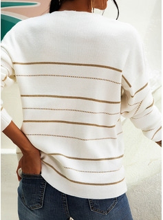 V-Neck Casual Striped Sweaters