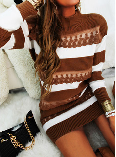Color Block Lange ærmer Casual Mode kjoler