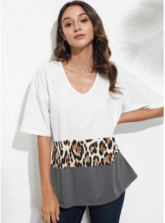 Print Patchwork Leopard 1/2 Ærmer Polyester V-hals T-shirt Bluser