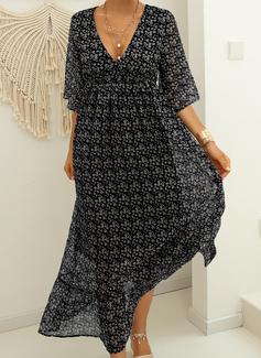 Impresión Vestido línea A Mangas 3/4 Maxi Casual Patinador Vestidos de moda