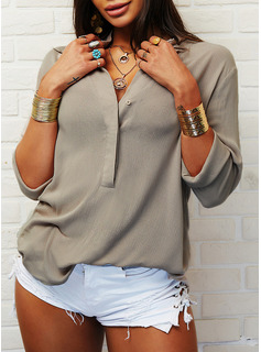 Solid Lapel Lange ærmer Casual Shirt Skjorter