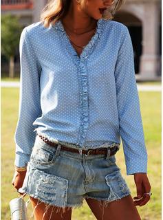A pois Scollatura a V Maniche lunghe Casuale Camicie