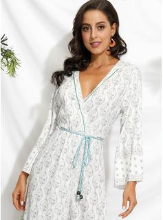 Maksimum V-hals Polyester Print/Slit Lange ærmer Mode kjoler