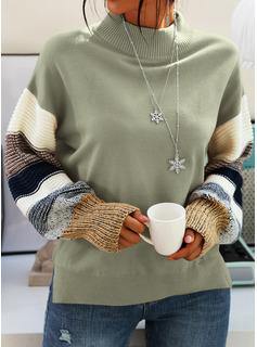 Guler Rotund gündelik Renkli klişe Bucată tricotată Kazak