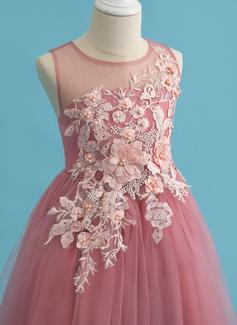 Robe Marquise/Princesse Longueur mollet Robes à Fleurs pour Filles - Tulle Sans manches Col rond avec Dentelle/Brodé