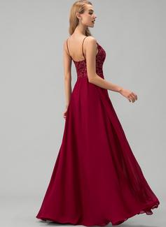 A-linje V-hals Gulvlængde Chiffon Chiffon Mode kjoler med Splittet Front Blonder pailletter