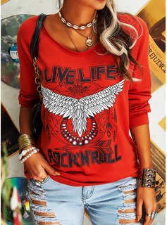 Figure Animal Print V-Neck Long Sleeves Casual T-shirt