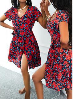 フローラル 印刷 Aラインワンピース 半袖 ミニ カジュアル スケーター ファッションドレス
