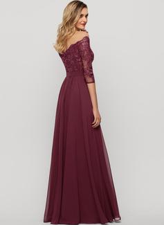 A-Line Off-the-Shoulder Floor-Length Chiffon Evening Dress With Sequins Split Front