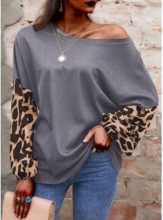 leopardo Stampa Una spalla Maniche lunghe Casuale Camicie