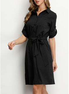Solid Kjole med A-linje 3/4 ærmer Midi Boho Den lille sorte Casual Skjorte Mode kjoler