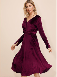 Solid A-line Long Sleeves Midi Casual Dresses