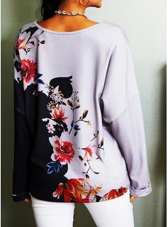 Color Block Blommig Print V-ringning Långa ärmar Fritids t-shirt