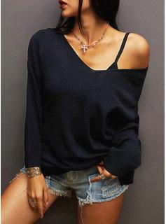 Solido Una spalla 3/4 maniche Casuale Camicie