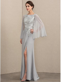 A-Line/Princess Scoop Neck Floor-Length Chiffon Sequined Mother of the Bride Dress With Split Front