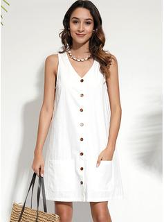 Knielänge V-Ausschnitt Polyester/Baumwolle Knopf/Einfarbig Ärmellos Modekleider