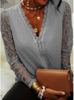 Lace Solid V-Neck Long Sleeves Puff Sleeves Elegant Blouses